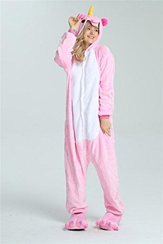 Missley Einhorn Pyjamas Kostüm Overall Tier Nachtwäsche Erwachsene Unisex Cosplay (S, pink) - 3