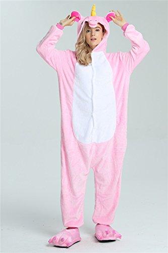 Missley Einhorn Pyjamas Kostüm Overall Tier Nachtwäsche Erwachsene Unisex Cosplay (S, pink) - 4