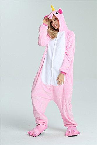 Missley Einhorn Pyjamas Kostüm Overall Tier Nachtwäsche Erwachsene Unisex Cosplay (S, pink) - 5