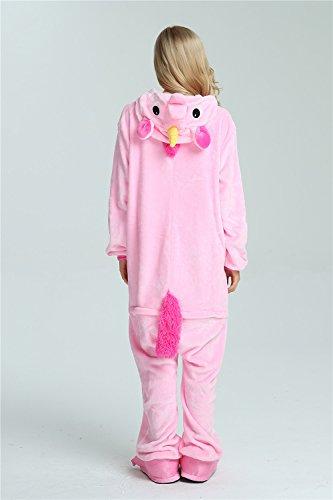Missley Einhorn Pyjamas Kostüm Overall Tier Nachtwäsche Erwachsene Unisex Cosplay (S, pink) - 6