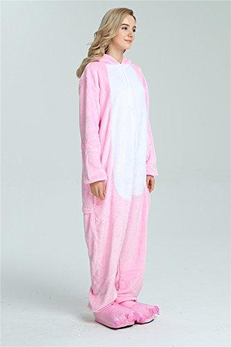 Missley Einhorn Pyjamas Kostüm Overall Tier Nachtwäsche Erwachsene Unisex Cosplay (S, pink) - 7