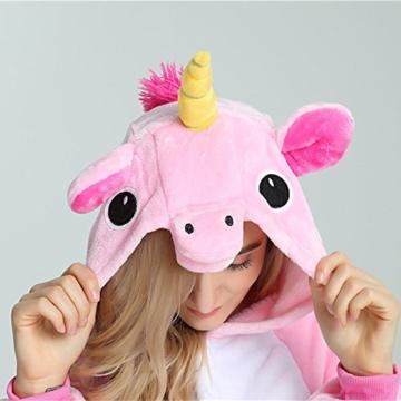 Missley Einhorn Pyjamas Kostüm Overall Tier Nachtwäsche Erwachsene Unisex Cosplay (S, pink) - 8