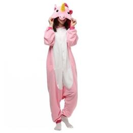 Misslight Einhorn Pyjama Damen Jumpsuits Tieroutfit Tierkostüme Schlafanzug Einhorn Kostüme Tier Sleepsuit mit festival tauglich Erwachsene und Kinder (L, Pink) - 1