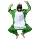 Misslight Einhorn Pyjama Damen Jumpsuits Tieroutfit Tierkostüme Schlafanzug Tier Sleepsuit mit Einhorn Kostüme festival tauglich Erwachsene (XL, Frosch) - 1