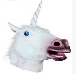 Om Einhorn-Maske, Halloween, gruselig, für Erwachsene, Latex-Gummi - 1