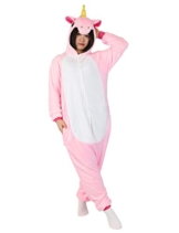 Pyjamas Einhorn Jumpsuit Kostüm Overall Flanell Erwachsene Unisex Karnevalskostüme Cosplay (X-Large, Pink) - 1