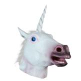 queenshiny Weiß Einhorn Kopf Maske Gesicht Gummi Latex Kunstpelz Cosplay Kostüm - 1