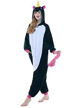 Spphin's Karneval Halloween Pyjamas Einhorn Onesie Tier Cosplay Kostüm Schlafanzug mit Kapuze Erwachsene Jumpsuit - 1