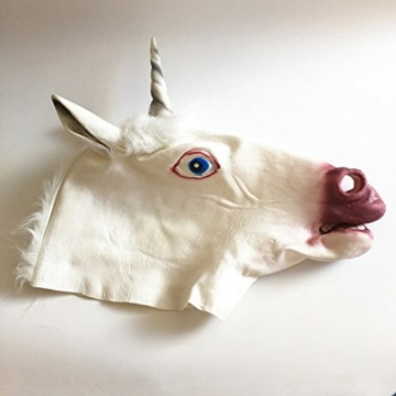 Tinksky Pferd Einhorn Maske Latex Halloween Kostüm Maske für Erwachsene und Kinder Tier Kopf Maske - 2