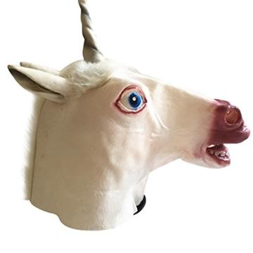 Tinksky Pferd Einhorn Maske Latex Halloween Kostüm Maske für Erwachsene und Kinder Tier Kopf Maske - 1