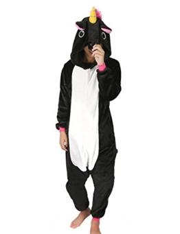 Très Chic Mailanda Einhorn Pyjamas Kostüm Jumpsuit Tier Schlafanzug Erwachsene Unisex Fasching Cosplay Karneval (Small, Schwarz) - 1