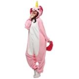 Unicsex Süß Tier Overall Pyjama Jumpsuit Kostüme Schlafanzug Für Kinder / Erwachsene (S, Rosa Einhorn) - 1