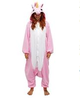 Unisex Einhorn Kostüm Pyjamas Tier Schlafanzug Karton Jumpsuit Nachthemd Erwachsene Fasching Cosplay Overall (XL für 178-187CM, Rosa) - 1