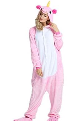 VineCrown Schlafanzug Einhorn Pyjamas Tier Overall Karikatur Neuheit Jumpsuit Kostüme für Erwachsene Kinder Weihnachten Karneval (S for 150CM- 160CM, Rosa) - 1