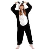 Z-Chen Herren Damen Jumpsuit Schlafanzug Tierkostüm für Halloween Karneval Fasching, Panda, Gr.S (Körpergröße 148-158cm) - 1