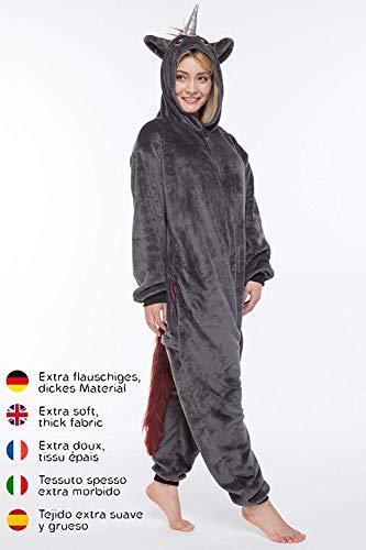 corimori 1852 Ruby Punk-Einhorn Damen Herren Onesie Jumpsuit Anzug Einteiler Kostüm Verkleidung Gr. 170 - 180cm, Schwarz - 2