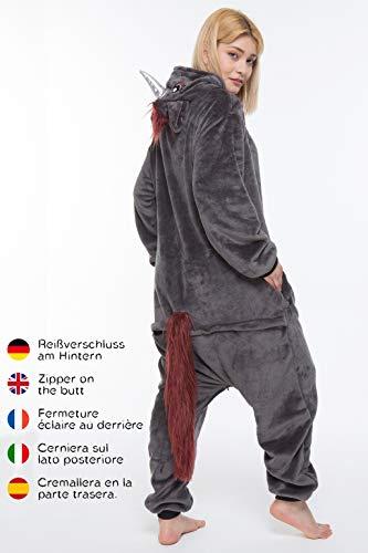 corimori 1852 Ruby Punk-Einhorn Damen Herren Onesie Jumpsuit Anzug Einteiler Kostüm Verkleidung Gr. 170 - 180cm, Schwarz - 3