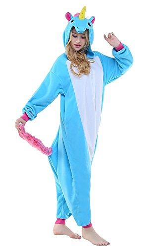 ABYED® Kostüm Jumpsuit Onesie Tier Fasching Karneval Halloween kostüm Erwachsene Unisex Cosplay Schlafanzug- Größe L-für Höhe 164-174CM, Blaue Einhorn - 1