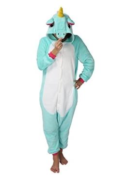 Einhorn jumpsuit Schlafanzug Damen Einhorn kostüm tier jumpsuit Erwachsene Flanell Cosplay zum Karneval Fasching (Pferd) (L: für Höhe 168-177, Hellblau) - 1