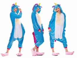 Einhorn Pyjamas Kostüm Jumpsuit Erwachsene Unisex Tier Cosplay Halloween Fasching Karneval Plüsch Schlafanzug Tierkostüme Anzug Flanell, M,Blau - 1