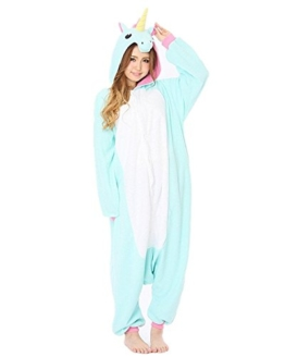 Minetom Einhorn Pyjamas Kostüm Jumpsuit -Karneval Cosplay Tier Schlafanzug Onesize Erwachsene Unisex Blau S - 1