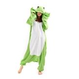 Casa - Erwachsene Unisex Jumpsuit Tier Onesie Tieroutfit Schlafanzug Sleepsuit mit Kapuze Cartoon Fasching Overall Pyjama Cosplay Frosch L - 1