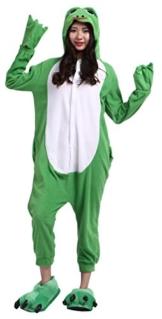 CuteOn Unisex Erwachsene Cartoon Tier Kigurumi Pyjamas Nachtwäsche Mit Kapuze Cosplay Kostüm Frosch S for Höhe 140-155CM - 1