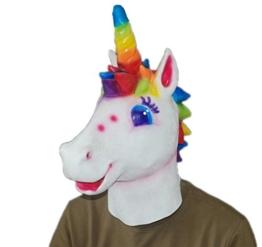 DylunSky Weihnachten Halloween Latex Maske Einhorn Kopf Regenbogen Farbige Einhorn Maske - 1