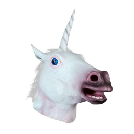 JRing Einhorn Kopf Maske Latex Pferd für Kostüm Fancy Dress Party Halloween, Creepy Adult Einhorn Kopf Latex Gummi Maske (Einhorn) - 1