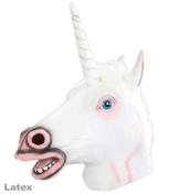 Maske Einhorn weiß Einhornmaske hochwertig Pferdemaske Phantasiefigur Fantasie Unicorn Tiermaske Vollmaske Kostümergänzung Gesichtsmaske Latexmaske - 1