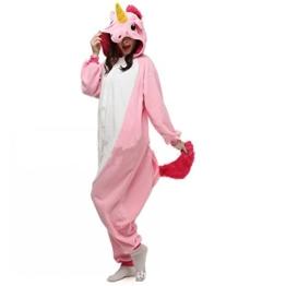 Misslight Einhorn Pyjama Damen Jumpsuits Tieroutfit Tierkostüme Schlafanzug Tier Sleepsuit mit Einhorn Kostüme festival tauglich Erwachsene (M, Pink) - 1