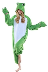 Mystery&Melody Erwachsenen Frosch Pyjamas Overall Halloween Kostüm Unisex Tier Schlafanzug Cosplay Overall Pyjamas - 1