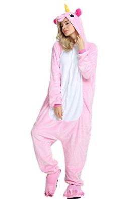 Süßes Einhorn Overalls Jumpsuits Pyjama Fleece Nachtwäsche Schlaflosigkeit Halloween Weihnachten Karneval Party Cosplay Kostüme für Unisex Kinder und Erwachsene (XL, Rosa) - 1