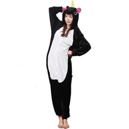 Unicsex Süß Einhorn Overall Pyjama Jumpsuit Kostüme Schlafanzug Für Kinder / Erwachsene (M, Schwarz) - 1
